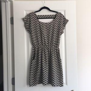 Black and white chevron pattern dress